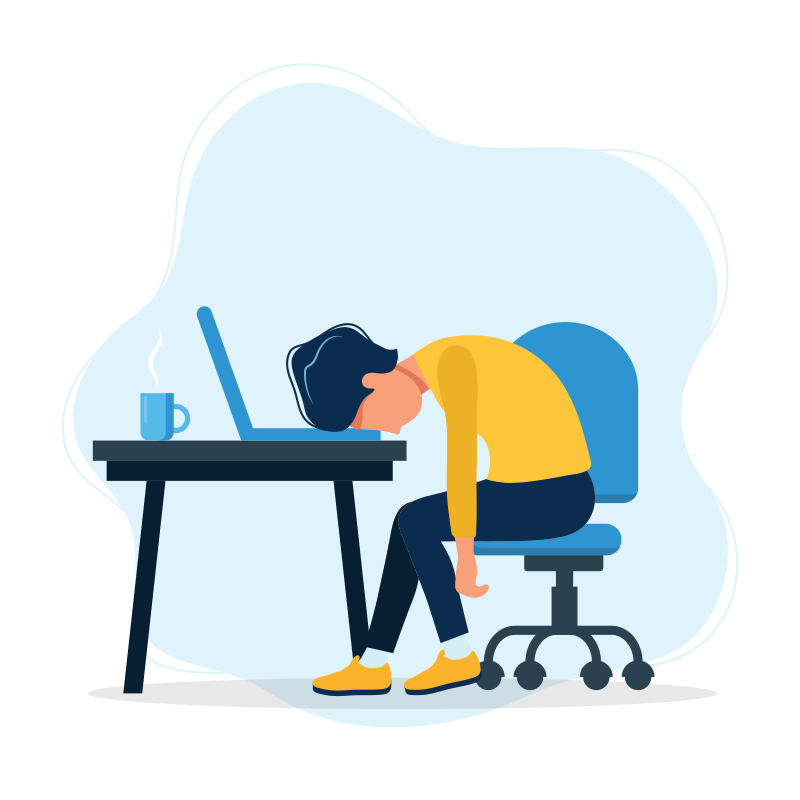 frustrated woman slumped at desk